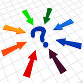 Question sign and arrows — Stock Photo