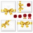 Set Of Envelopes With Golden Bow And Wax Seals - Stock Vector