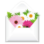Open Envelope With Flowers — Stock Vector