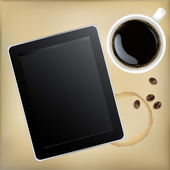 Cup Of Coffee With Tablet Computer — Stock Vector
