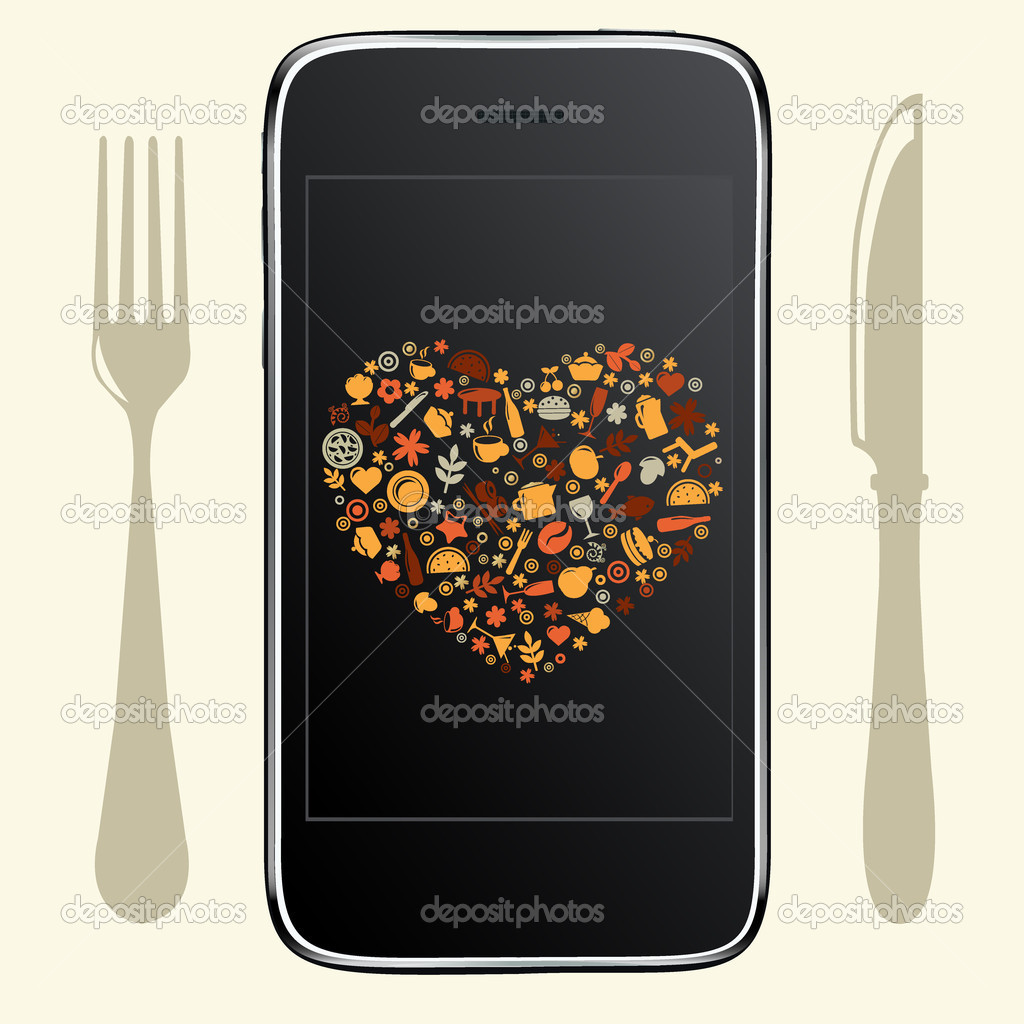 Food Icons With Black Phone, Vector Illustration — Stock Vector #11937015