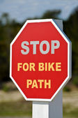 Stop For Bike Path — Stock Photo