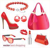 Frau am besten einkaufsmöglichkeiten, vektor — Stockvektor