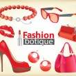 Fashion boutique set, stylized doodles — Vector de stock #11259193