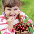 Girl Eating Cherry — Stock Photo