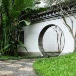 Circle entrance of Chinese garden in Hong Kong — Stock Photo #11376845