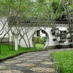 Circle entrance of Chinese garden in Hong Kong — Stock Photo #11376858