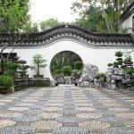 Circle entrance of Chinese garden in Hong Kong — Stock Photo #11376862