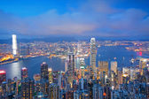 Hong Kong skyline from Victoria Peak at sunrise — Stock Photo