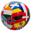 Soccer ball with national flags — Stock Photo