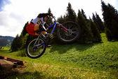 Mountain bike extreme competition — Stock Photo