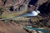 Dam on a mountain river Chilik, Kazakhstan — Stock Photo