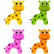 funny colorful giraffe set isolated on white — Stock Vector