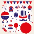 Stock Vector: Independence day retro icons ( vector )