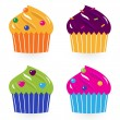 Colorful birthday cakes set isolated on white — Stock Vector