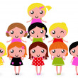 Stock Vector: Happy little girls group isolated on white