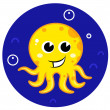 Yellow cartoon octopus in sea water — Stock Vector