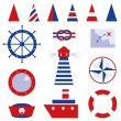 Sailor and sea icons isolated on white - Stok Vektr
