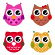 Vector cartoon owls set isolated on white — Stock Vector