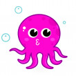 Pink cartoon octopus isolated on white — Stock Vector