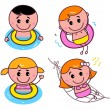 Doodle happy swimming kids set — Vector de stock #11037244