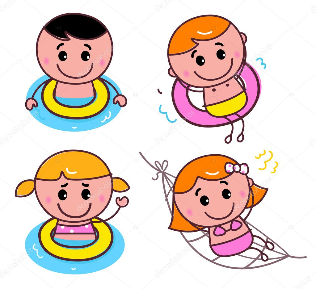 Beach kids set isolated on white. Vector cartoon — Stock Vector #11037244