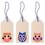 Cute halloween owl blank tags — Stock Vector