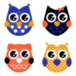 Cute Halloween owls collection isolated on white — Stock Vector