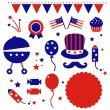 Independence day icons isolated on white - Stock Vector