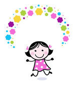 Cute doodle girl juggling with flowers — Stock Vector
