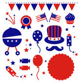 Independence day icons isolated on white — Stock Vector