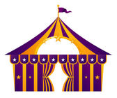 Purple circus tent isolated on white — Stock Vector