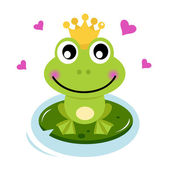 Cute Frog prince with hearts — Stock Vector