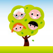 Family tree with grandparents and kids — Stock Vector