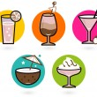 Summer retro colorful drinks isolated on white - Stock Vector