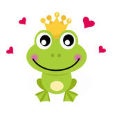 Frog cartoon prince isolated on white — Stock Vector