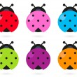 Cute colorful Ladybug set isolated on white — Stock Vector