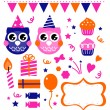 Owl birthday party design elements — Stock Vector