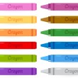 Colorful crayons set isolated on white — Stock Vector