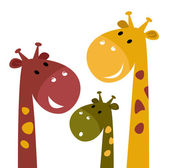 Cute giraffe family isolated on white — Stock Vector