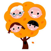 Autumn family tree isolated on white — Stock Vector