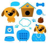 Dog accessories set isolated on white ( blue ) — Stock Vector