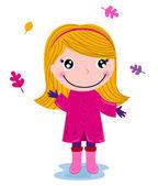 Little cute autumn girl isolated on white — Stock Vector