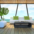 Modern interior of the beach house — Stock Photo