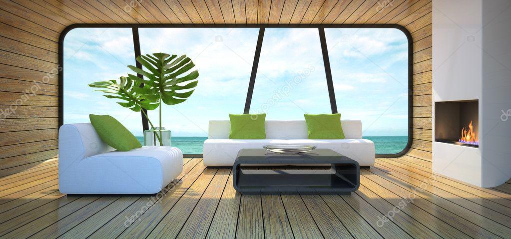 Fotos Van Modern Interieur : Moderne interieur van het strand huis 3d ...