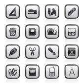 Iconos de objetos comerciales y oficina — Vector de stock
