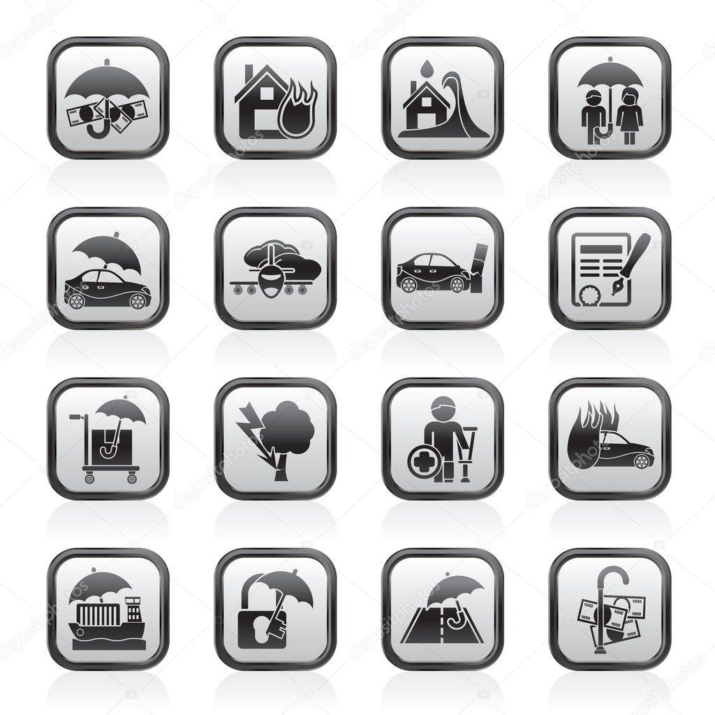 保险和风险图标-矢量图标集 — 矢量图片作者 stoyanh
