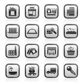 Icônes de bâtiment et immobilier — Vecteur