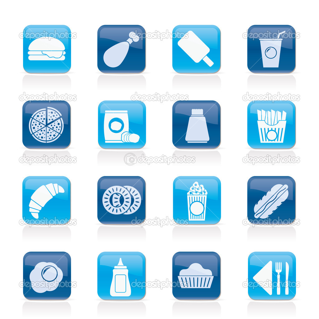 Fast food and drink icons - vector icon set — Stock Vector #11167114