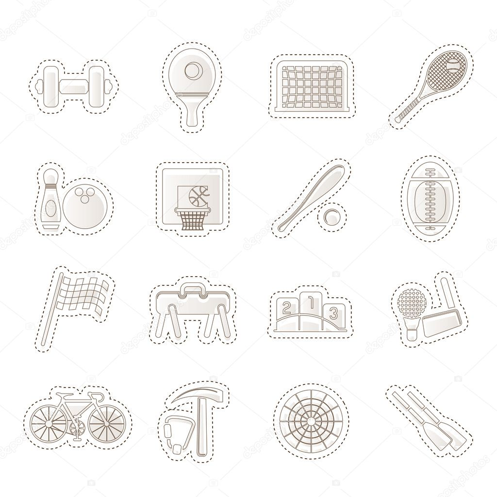 Simple Sports gear and tools icons - vector icon set  — Stock Vector #11171665